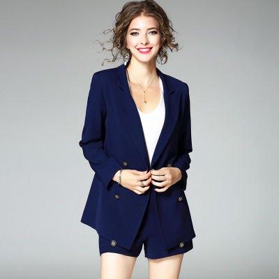 長袖 ダブルボタン スーツ トップス ショートパンツ セットアップ ドレス