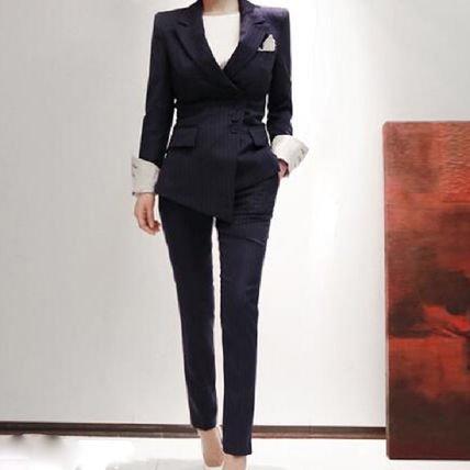 ストライプ 長袖 アシンメトリー 襟付き ロング 9分丈パンツ スーツ ドレス