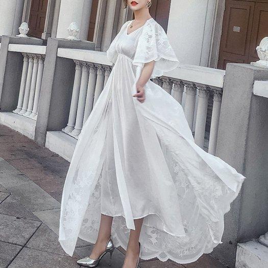 花柄 半袖 Vネック レース ロング 結婚式 二次会 ラップドレス ワンピース