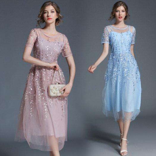 【2色】シフォン フレア 刺繍 ミモレ丈ドレス 無地 ミディアム 半袖 結婚式 パーティー 二次会