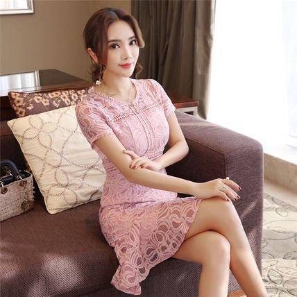 フラワーモチーフ柄 ピンク 透けレース 裾フリル 華ワンピース 花柄 Aライン結婚式 二次会 パーティー