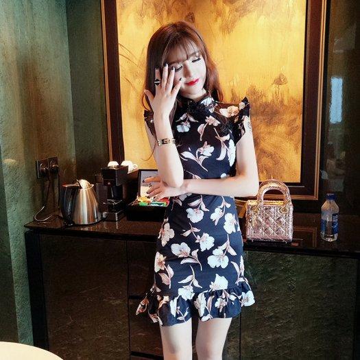 パーティ 花柄 チャイナカラー ワンピース ショート ハイネック タイト ノースリーブ ドレス