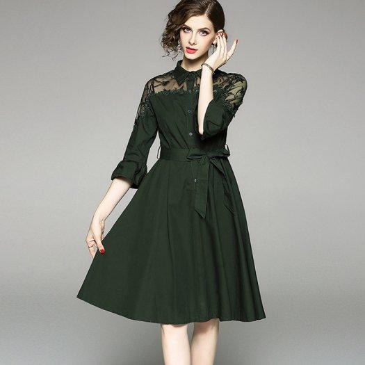 上品 シック ポロ襟 花柄 透けデコルテ フレアワンピース ミディアム 半袖 お呼ばれ ドレス