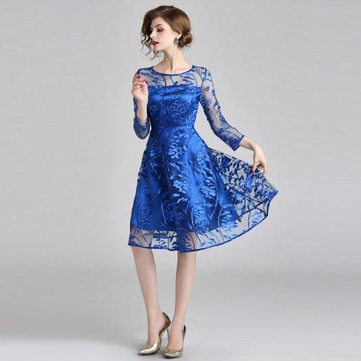 鮮やか ブルー 刺繍 チュール Aライン 長袖 ミディアム 結婚式 パーティー 二次会 ドレス