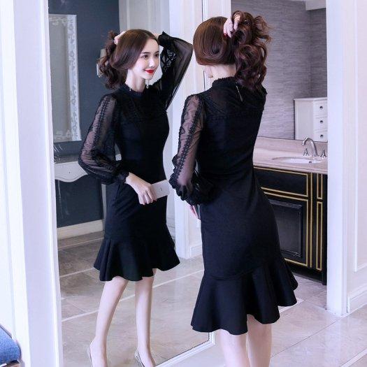 ライン装飾 シースルースリーブ マーメイド 裾フレア 黒 タイトワンピ ミディアム ハイネック パーティー ドレス