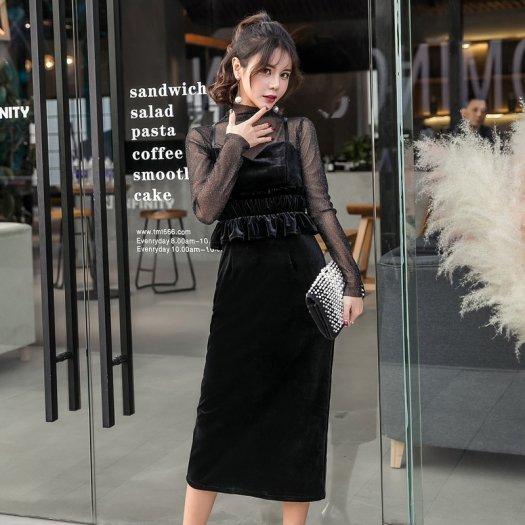 2点セット ブラック ベロア キャミソール シースルートップス タイト ミディアム ドレス