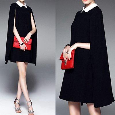 【即納】スリットスリーブ ポンチョ袖 襟付き ケープ モード バイカラー ショート丈 ミニ サック ドレス ワンピース 2色