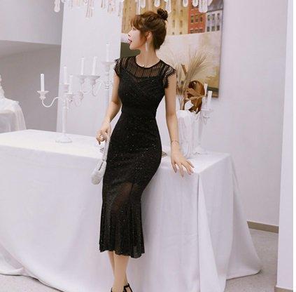 エレガント ノースリーブ グリッター ラメ ロング ワンピース タイト ドレス マーメイド パーティー お呼ばれ 結婚式