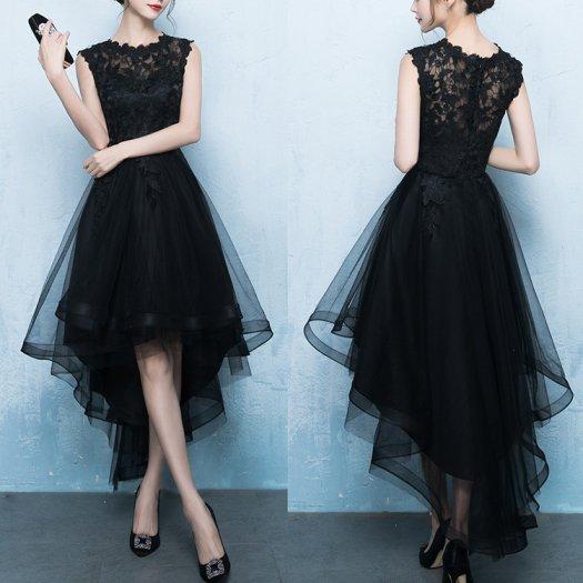 【3色】ドレス ノースリーブ 花柄 刺繍 フィッシュテール ミディアム ワンピース ドレス 結婚式 パーティー