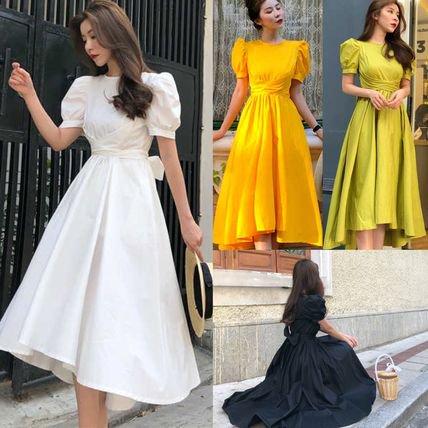【4色】クラシカル 半袖 バックリボン フレアワンピース ドレス 結婚式 二次会 お呼ばれ