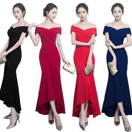 【4色】オフショル Vネック ロング ワンピース フィッシュテール ミディアムタイト ドレス パーティー