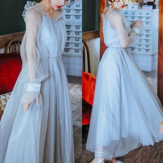 レース チュール フリル ボリューム袖 ロング フレア ワンピース ドレス パーティー 結婚式 お呼ばれ