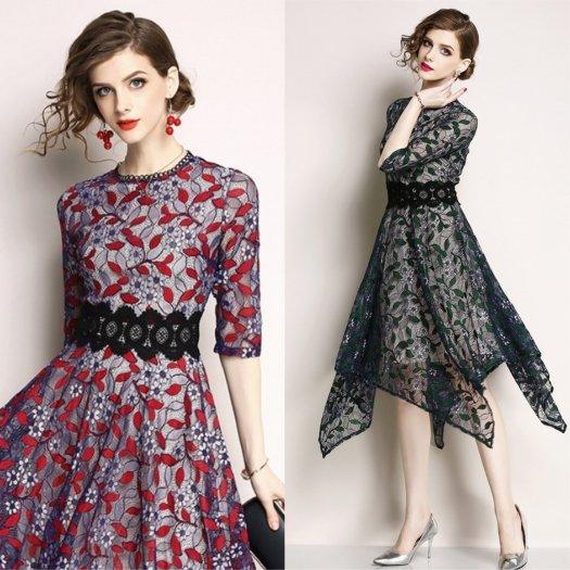 【2色】花柄 レース ウエストマーク フレア ワンピース ドレス 結婚式 パーティー お呼ばれ 二次会
