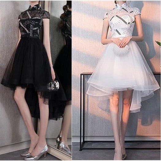 【2色】チャイナカラー フィッシュテール 半袖 ウエストリボン フレア ミディアム ワンピース ドレス 結婚式 お呼ばれ