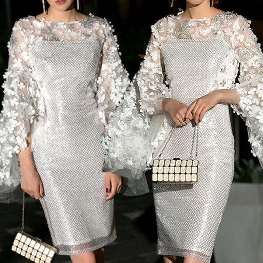 フラワーモチーフ ボリュームスリーブ シースルー ショート丈 スパンコール ミニ タイトワンピ ドレス 結婚式 お呼ばれ