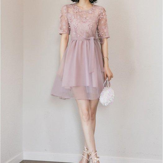 花柄 ウエストリボン 半袖 ミニ丈 フレア ワンピース ドレス 結婚式 二次会 お呼ばれ