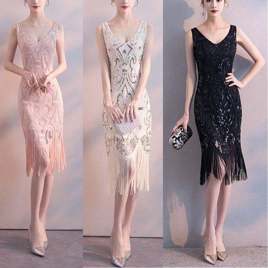 【3色】スパンコール 刺繍 フリンジ ノースリーブ ミディアム タイト ワンピース ドレス 結婚式 二次会 パーティー