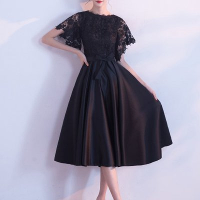 ワンピース ミモレ丈 レディース ドレス ブラック 花柄レース リボンベルト 半袖 フレア 可愛い お呼ばれ パーティー 上品 お呼ばれ drgz0751