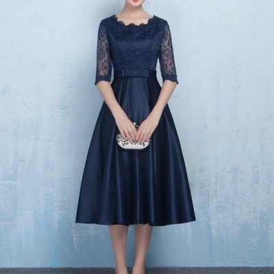 ◆国内在庫あり/ラウンド・ハイネックドレス ミモレ丈 ワンピース ネイビー シースルー 花柄レース  drgz2152
