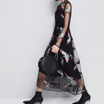 ◆【国内在庫あり】パーティードレス ロング丈 シースルー 鳥刺繍 長袖 個性的 drgz2256