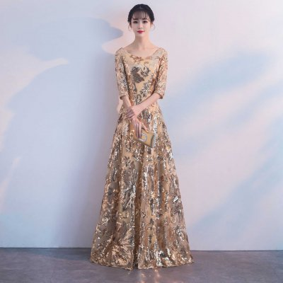 パーティードレス ロング丈 スパンコール ゴージャス イブニングドレス drgz5012