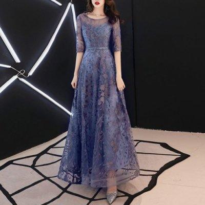 パーティードレス シースルー 花柄刺繍 エレガント イブニングドレス drgz5036