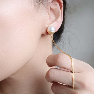 CUP PEARL<br>CHAIN<br>-earrings
