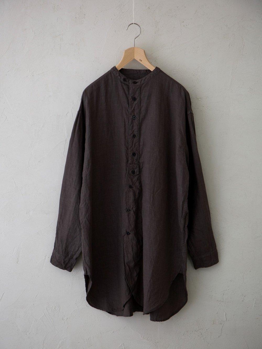 平織リネン チュニックシャツ -墨染め-(Unisex)