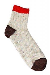 【奈良県産靴下】TMSO-005 3本切替ネップソックス SOCKS RD/BR(レッド/ブラウン)