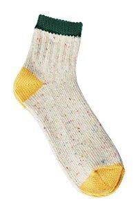 【奈良県産靴下】TMSO-005 3本切替ネップソックス SOCKS GR/YW(グリーン/イエロー)