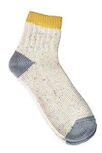 【奈良県産靴下】TMSO-005 3本切替ネップソックス SOCKS YW/GY(イエロー/グレー)