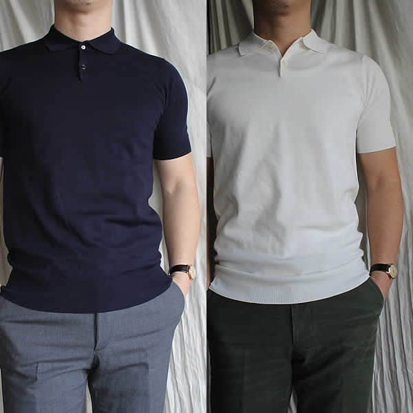 ARBRE / super fine-gauge polo shirt