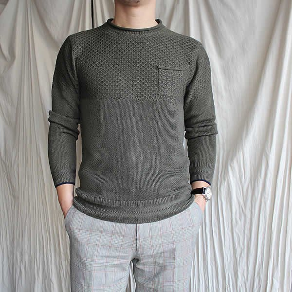 Atelier de vêtements×Kei MACDONALD / vonnel×hemp mix crew knit