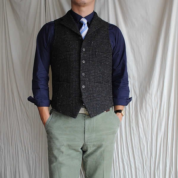 NIGEL CABOURN / MODIFIED MALLORY VEST -japanese tweed-