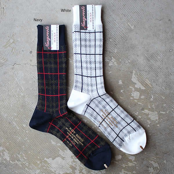 Navy Roots / middle gauge jacquard sox