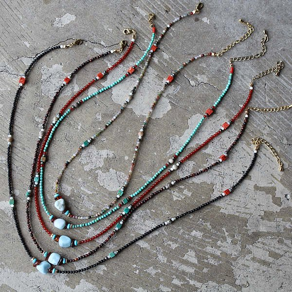 L.BRIDGES / Natural stone Necklace & Anklet