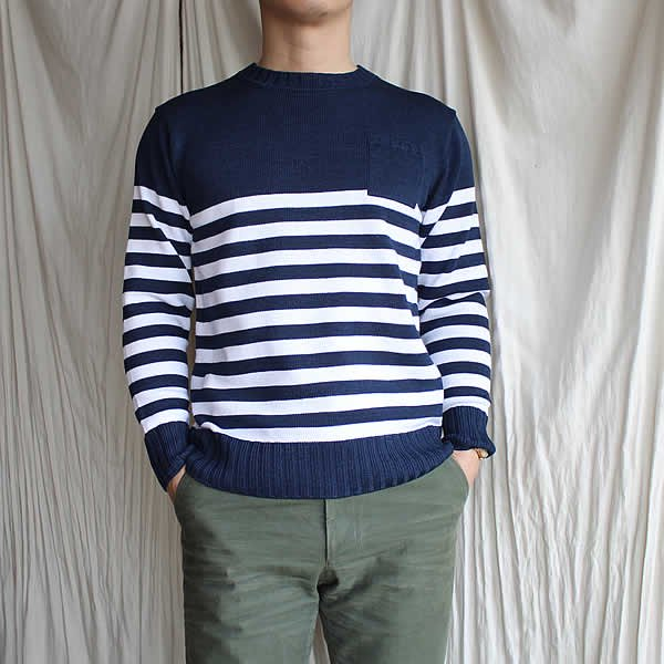 Kei MACDONALD / denim border crew-pullover