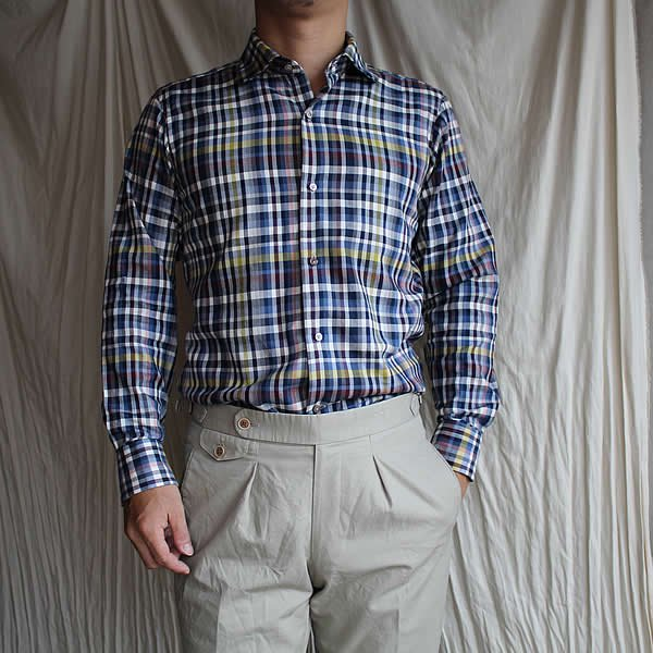 *受注生産*Atelier de vetements shirt / No.33  round color plaid shirt