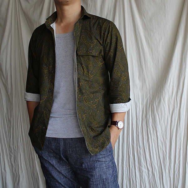 *受注生産*Atelier de vetements shirt / No.13 rip-stop cotton paisley print shirt