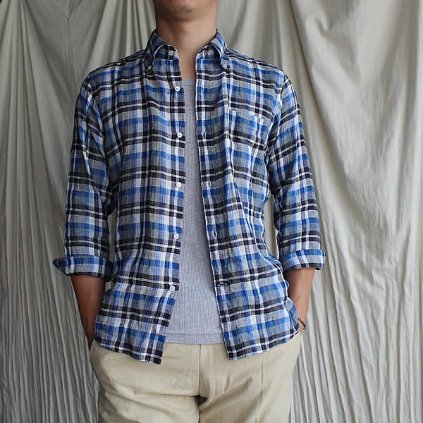 Atelier de vetements shirt / No.28  linen button-down plaid shirts