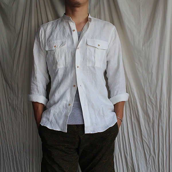 *受注生産*Atelier de vetements shirt / No.29 european linen band collar safari shirts