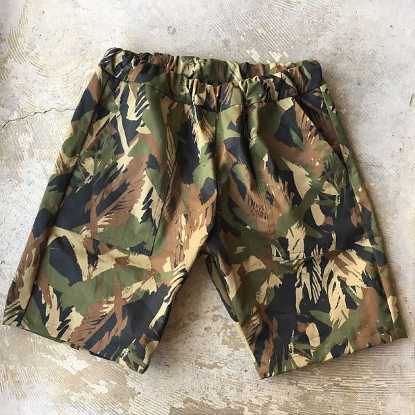 Atelier de vetements / easy dress shorts -fatigue(leaf pattern camouflage)-
