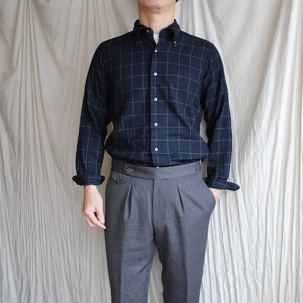 *受注生産*Atelier de vetements shirt / No.41 houndstooth check button-down shirts (播州織)