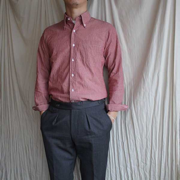 *受注生産*Atelier de vetements shirt / No.43 pinstripe button-down shirts (播州織、赤耳)