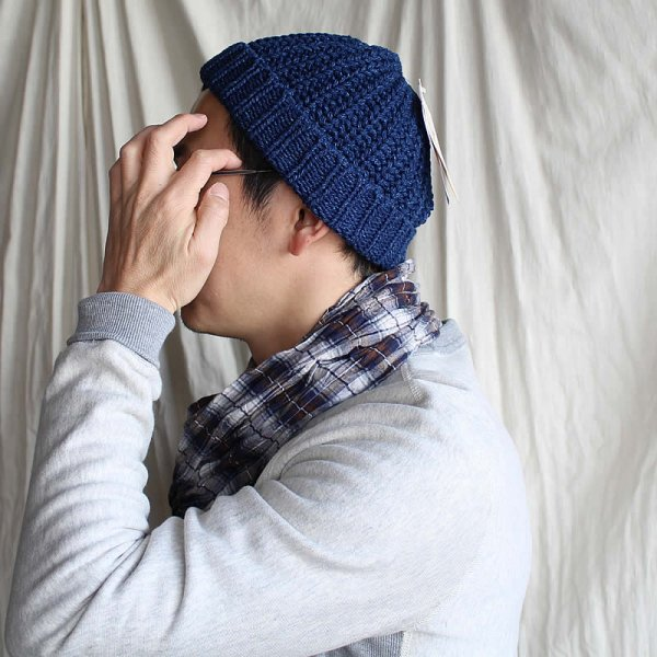 HIGHLAND 2000 / BOBY CAP INDIGO COTTON HARF CARDIGAN