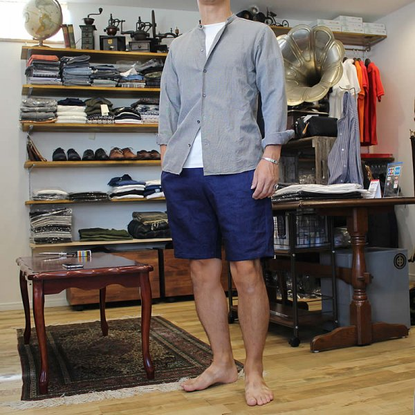 Atelier de vetements / easy dress shorts -indigo dyed linen-