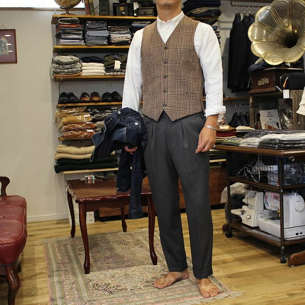 Atelier de vetements / waistcoat -cashmere×merino wool dead stock cloth -