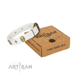 【Artisan】大型犬用 おしゃれ首輪 Pure White Leather Collar (ピュア ホワイト レザー カラー)