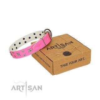 【Artisan】大型犬用おしゃれ首輪 Vivit Pink Leather Collar (ヴィヴィット ピンク レザー カラー)