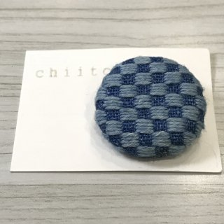 藍染のブローチ(小) 市松